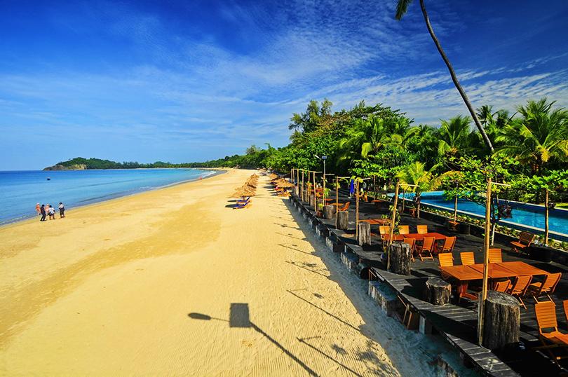 Ngapali Beach, расположенный в Нгапали, Мьянма: не слишком известный, зато чистый и очень спокойный