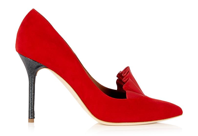 Новый год. Дресс-код: 28лучших пар обуви для новогодней вечеринки. Красные туфли Adam Lippes сглиттерным каблуком