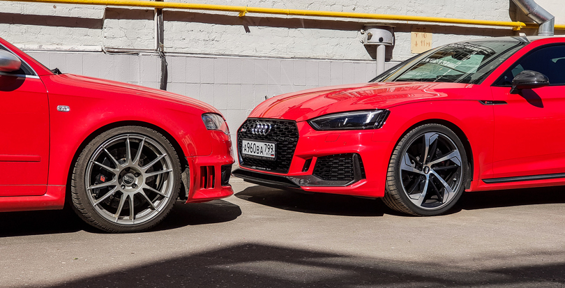 Old and new: Audi B7 RS4 and B9 RS5 in Misano Red