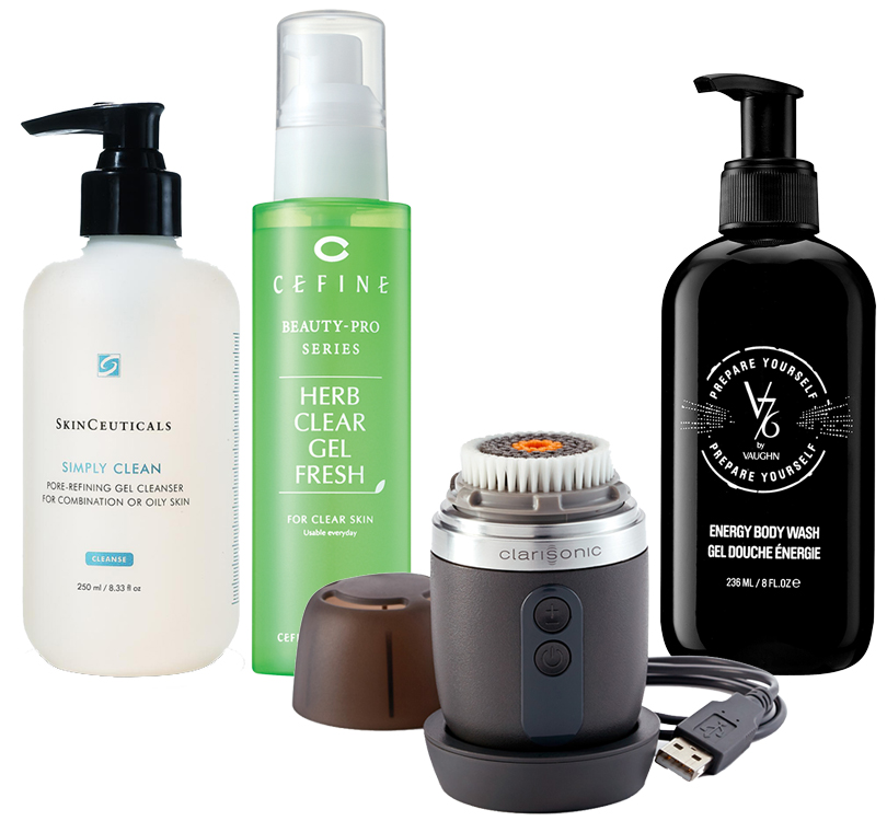 Simply Clean отSkinCeuticals; Herb Clear Gel Fresh отCefine; Alpha Fit отClarisonic; Shower Gel отV76 byVaughn
