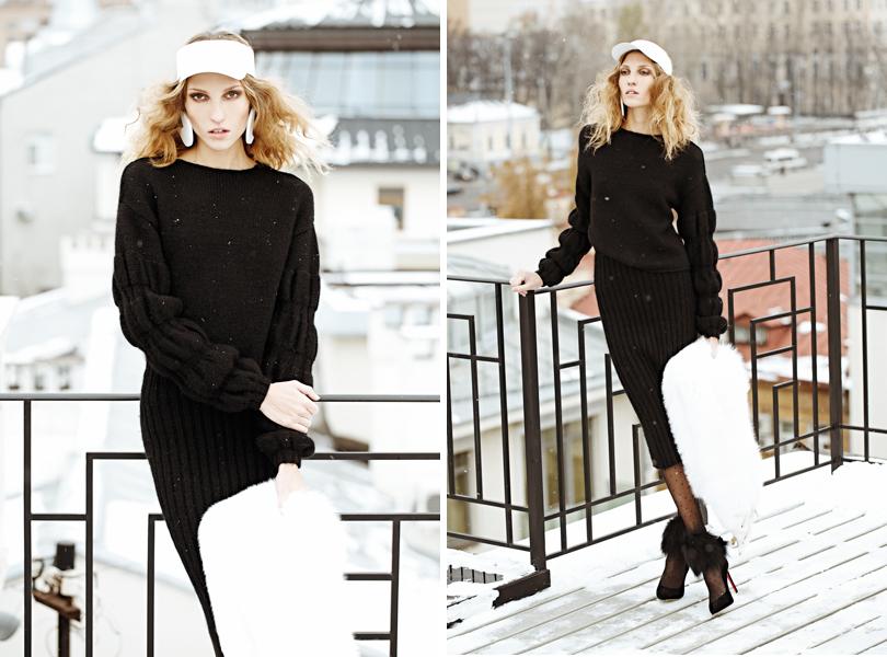 Style Notes: Урсула Ким в съемке для DressOne. Костюм ForCopine, козырек исерьги Alexander Arutyunov