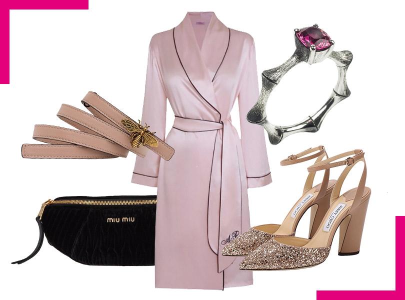 Ремень, Christian Dior; поясная сумка, Miu Miu; шелковое кимоно, Agent Provocateur; авторские ювелирные украшения ручной работы, Eva Naumova; туфли сглиттером, Jimmy Choo