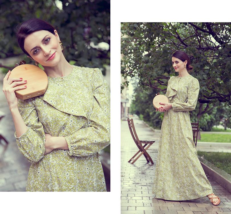 Style Notes сМариной Изиловой: как правильно носить цветочный принт? Платье, Manoush; клатч, Эконика; серьги, Joya; сандалии, Dior