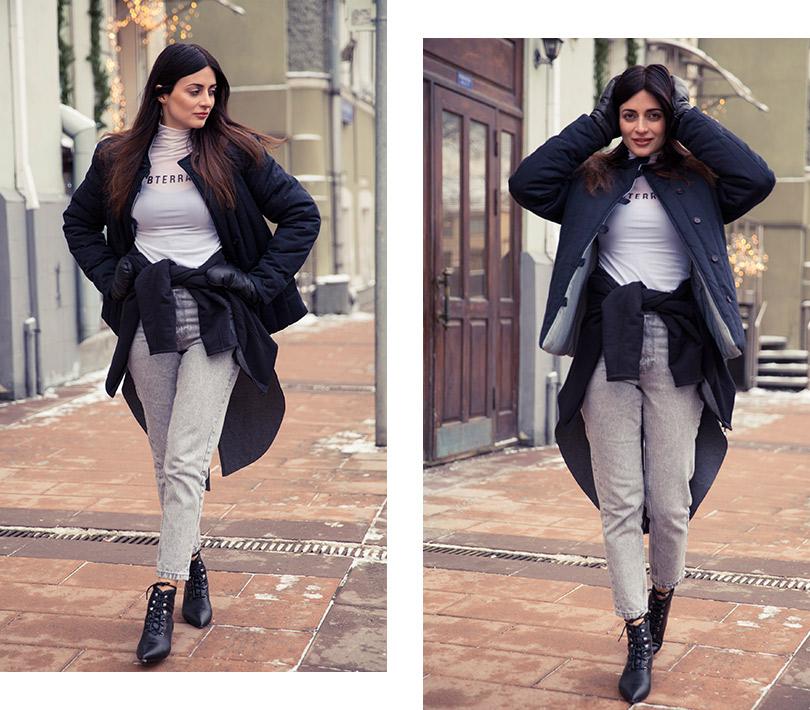 Телогрейка, Husky Wear; водолазка, Subterranei; джинсы, Zara; ботинки, Dior