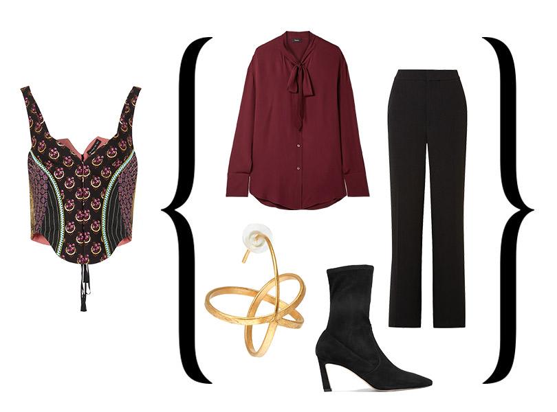 Корсет-жилет от Etro + Блузка, Theory; брюки, Joseph; ботильоны, Stuart Weitzman; серьги, Joid'art Barcelona