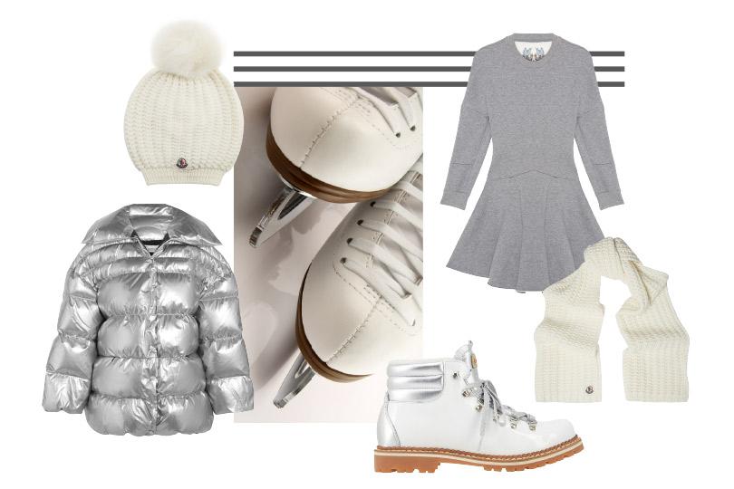 Платье, Alexander McQueen; куртка, Off-White; кожаные ботинки, Montelliana; шапка ишарф, все— Moncler