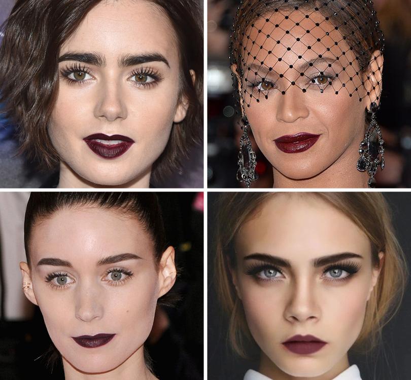 Новый год. Total Beauty: 9бьюти-трендов уходящего 2016 года. Помада: отярко-красного доцвета бургундского вина