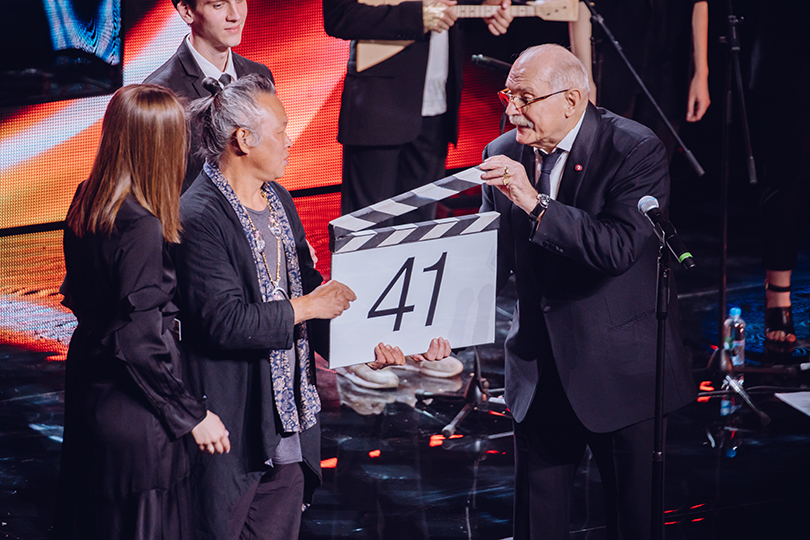 Церемония открытия 41-го Международного московского кинофестиваля. Ким Ки Дук и Никита Михалков