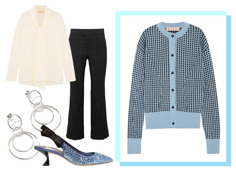 Укороченные брюки, Isabel Marant; блузка изшелка, Vanessa Bruno; кардиган, Marni; туфли, Miu Miu; серьги, Exclaim