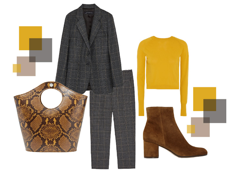 Костюм, Zara; укороченный пуловер, DKNY; ботильоны иззамши, Gianvito Rossi; сумка, Elizabeth &James