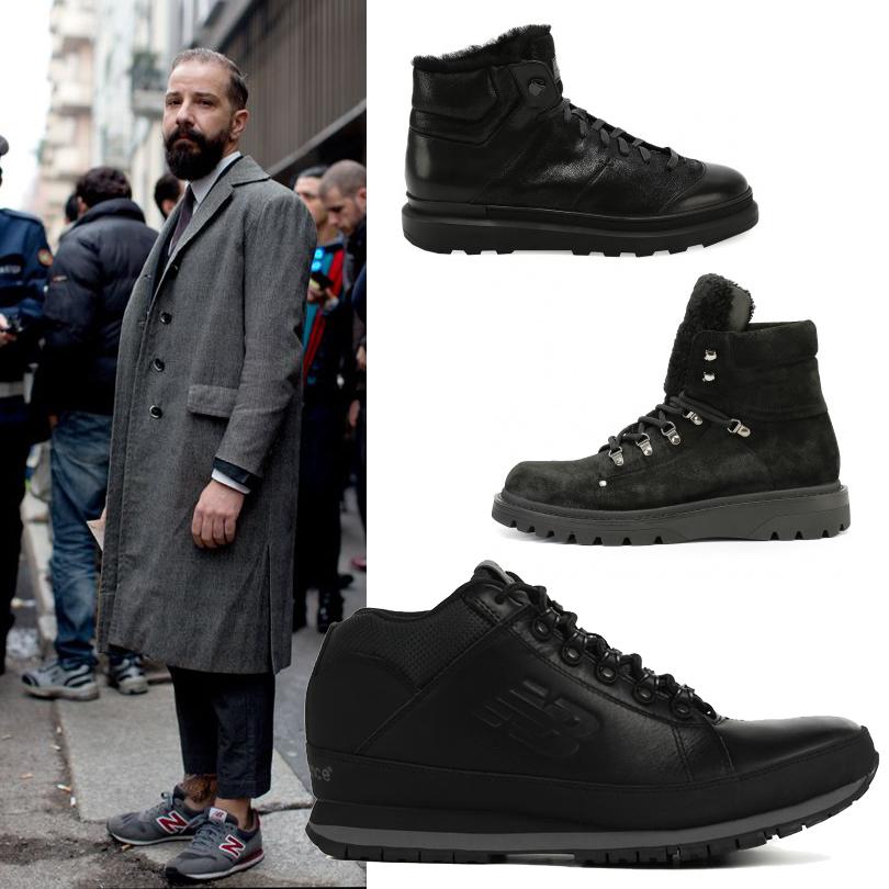 Men inStyle: актуальная мужская обувь— что носить вусловиях погодных катаклизмов? Кроссовки намеху Santoni (ЦУМ), кожаные кеды New Balance, ботинки смеховой отделкой Moncler