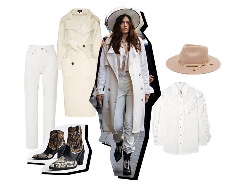 5 монохромных стритстайл-образов с Недели моды в Милане, которые вы будете носить уже этой весной. Джинсы, Ksubi (Net-a-Porter); блузка, Miu Miu; тренч, T-Skirt (Aizel); казаки, Uterque; шляпа, Lack ofColor