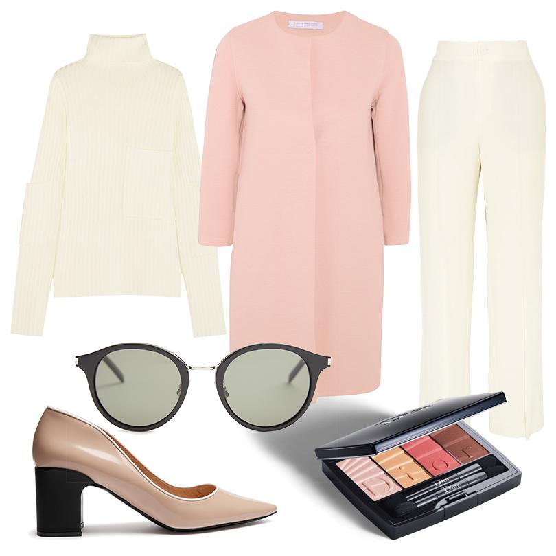 Пальто Harris Wharf London, свитер свысоким воротом Joseph, брюки Givenchy, туфли Fabrizio Viti, очки Saint Laurent, тени для век Dior Coral Gradation