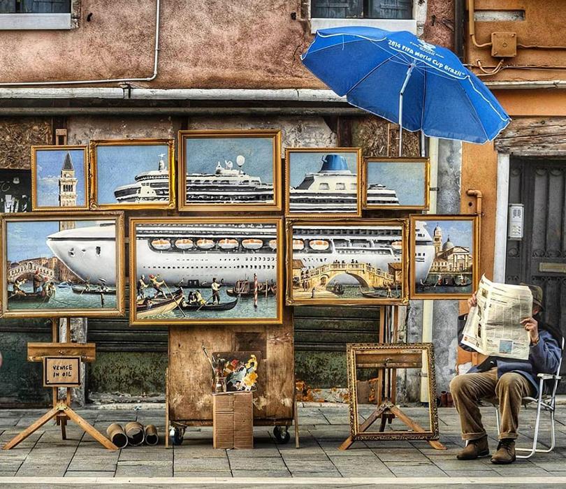 Видео дня: Бэнкси выгнали с Венецианской биеннале