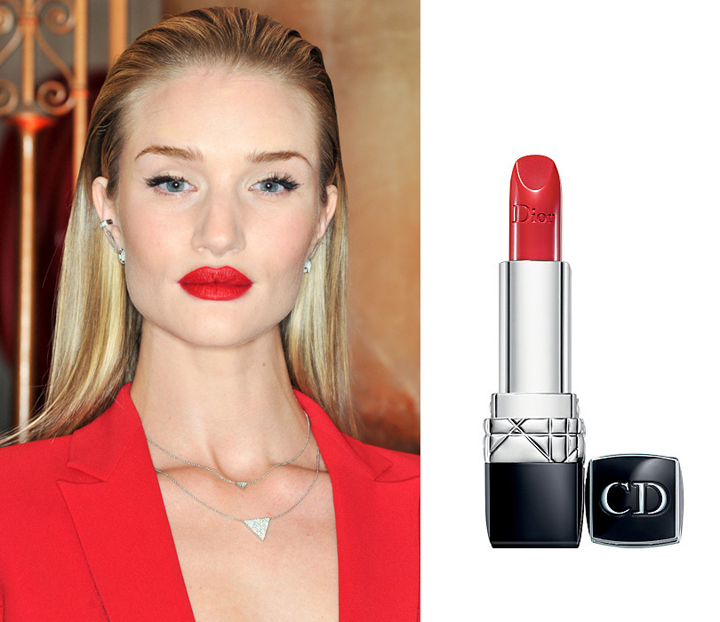 Total Beauty: матовые губы— тренд сезона весна-лето 2016. Роузи Хантингтон-Уайтли— Dior Rouge Dior Lipstick, Rouge Dior 999