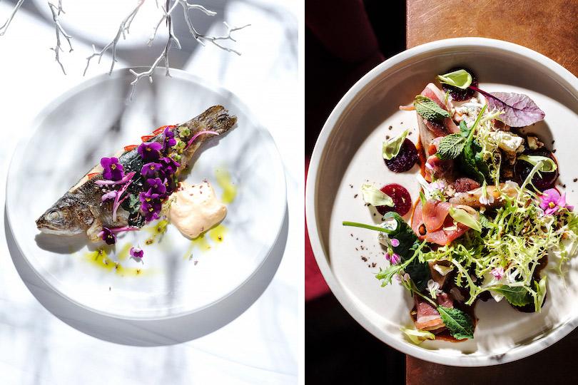 Меню недели: осенние блюда в ресторане Modus. Речная форель скремом изпастернака иконсоме израков. Салат спеченой грушей, карамельной свеклой иголубым сыром