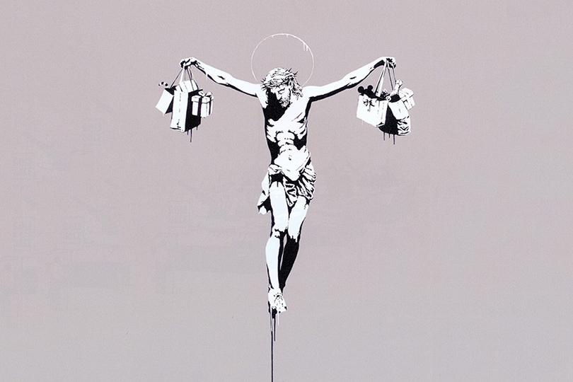Бэнкси— «Иисус ссумками для покупок», 2005