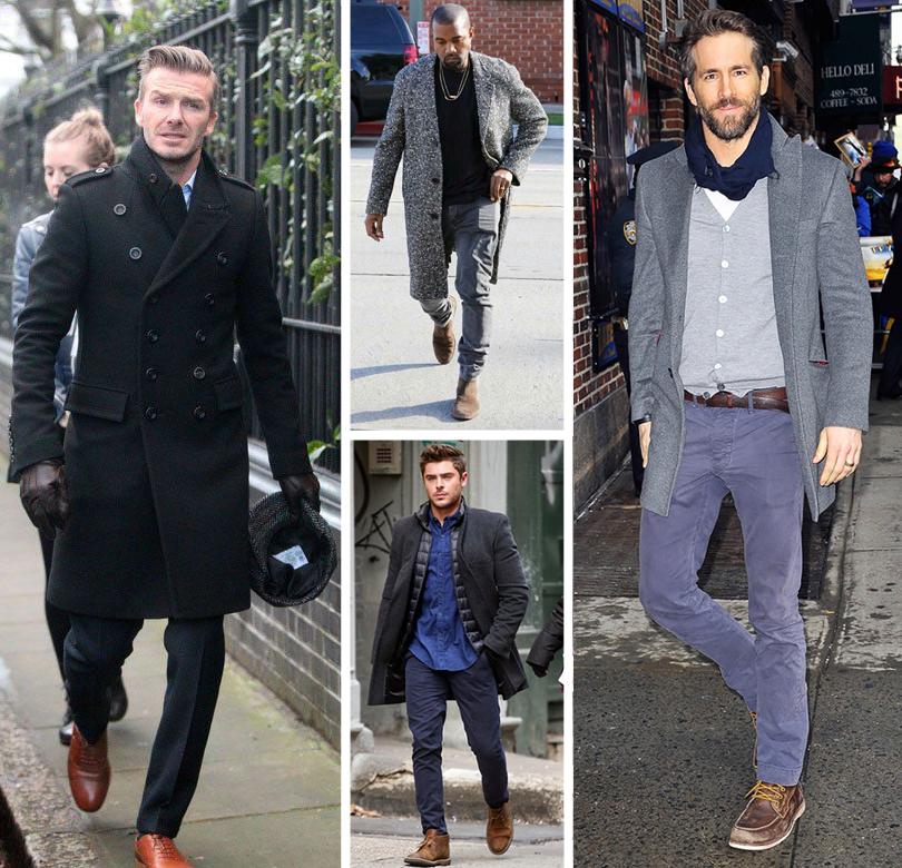 Men inStyle: как носить самые актуальные пальто весеннего сезона. Дэвид Бекхэм, Канье Уэст, Зак Эфрон, Райан Рейнольдс