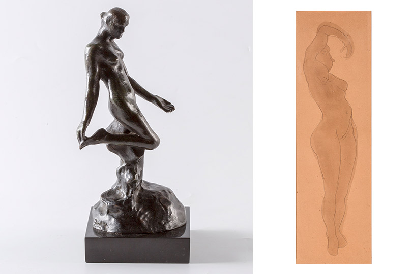 Огюст Роден  Женская фигура к«Вечному идолу». Маленькая модель Обнаженная. 1898-1900