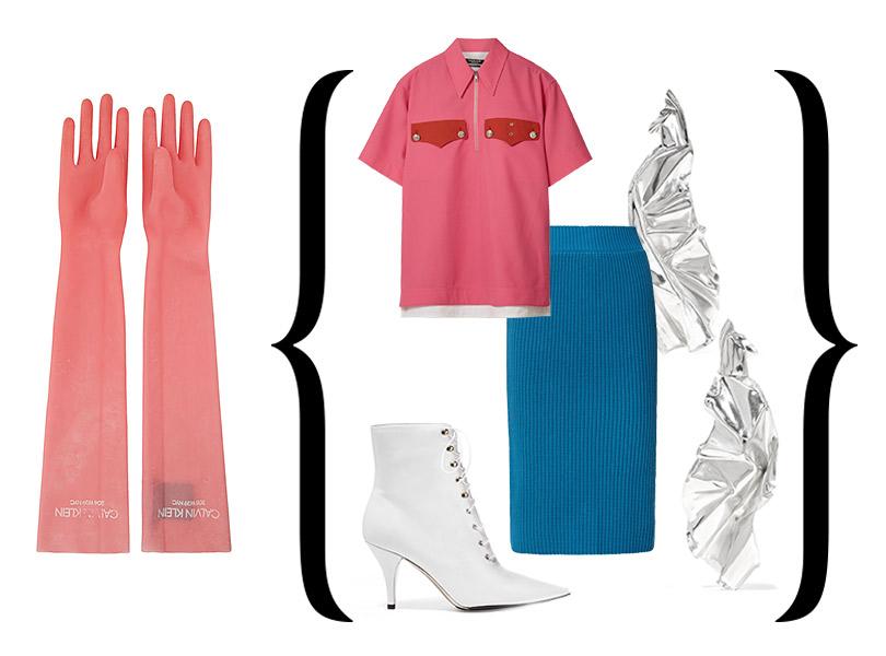 Перчатки изрезины, юбка, топ, ботильоны— все, Calvin Klein 205W39NYC; серьги, Wwake