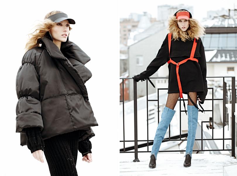 Style Notes: Урсула Ким в съемке для DressOne. Козырек исерьги Alexander Arutyunov, куртка Tom Ash, костюм ForCopine. Козырек, худи иботфорты Alexander Arutyunov