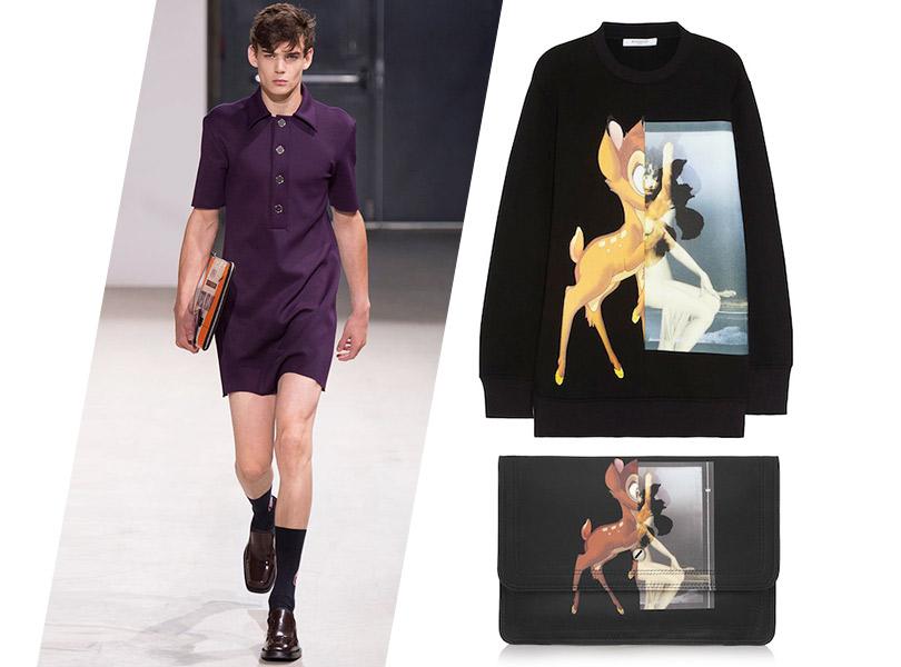 2013–2014: Raf Simons, весна-лето— 2014; клатч исвитшот сБэмби, Givenchy, осень-зима— 2013/2014