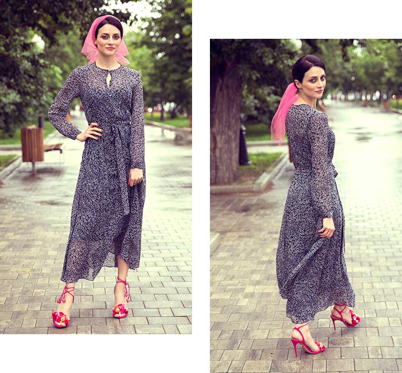 Style Notes сМариной Изиловой: как правильно носить цветочный принт? Платье, L.K.Bennett; туфли, Aquazzura; платок— собственность героини