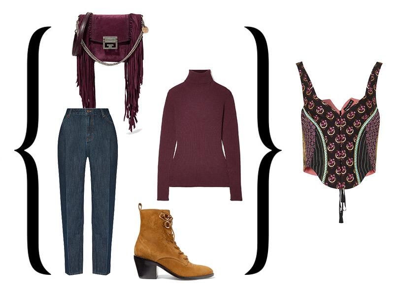 Корсет-жилет от Etro + Свитер, Hillier Bartley; джинсы, Akhmadullina Dreams; сапоги, Diane von Furstenberg; сумка, Givenchy