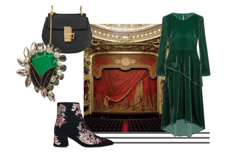 Платье, Maje; полусапоги избархата, Uterqüe; сумка, Chloé; брошь, No.21