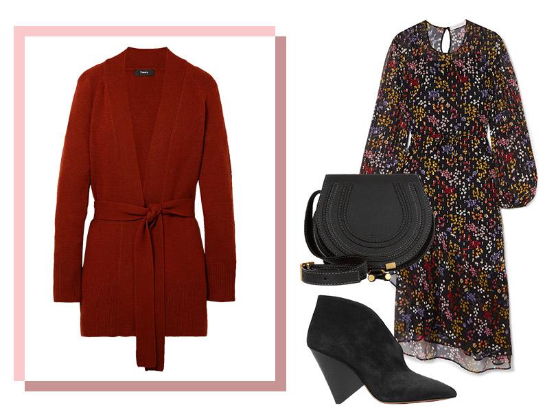 Платье, See byChloé; кардиган, Theory; ботильоны иззамши, Isabel Marant; сумка, Chloé