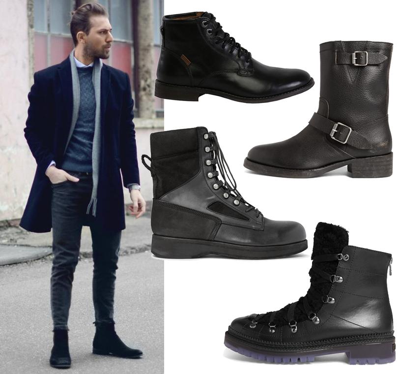 Men inStyle: актуальная мужская обувь— что носить вусловиях погодных катаклизмов? Ботинки Levi's, сапоги Maison Margiela иSacai (Mr.Porter), шнурованный полусапоги сотделкой овчиной Jimmy Choo
