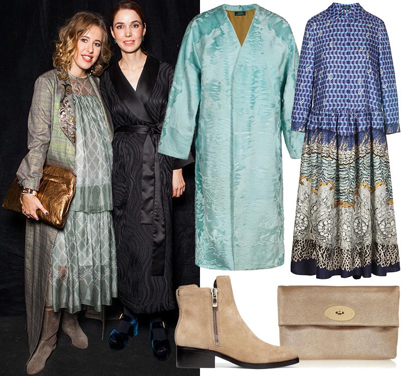 Star Look: повторяем лучшие образы Ксении Собчак вовремя беременности. Пальто иплатье Alena Akhmadullina, клатч Mulberry, ботинки 3.1 Phillip Lim