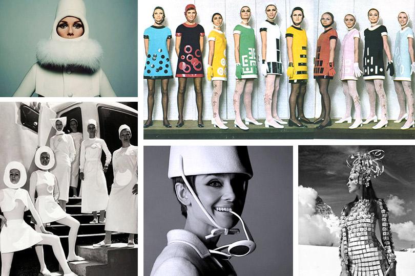 Слева направо сверху вниз:  André Courrèges, фотограф— Питер Кнапп, 1965г. Pierre Cardin, 1970г. André Courrèges, коллекция Space Age, 1964г. Платье Paco Rabanne, 1966г., фотограф— Гуннар Ларсен