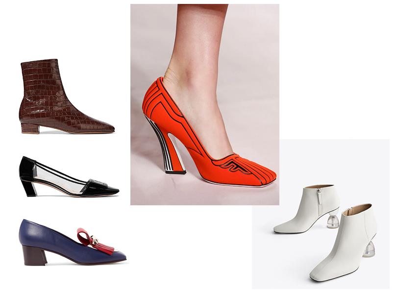 Обувь с квадратными носами: Fendi весна/лето 2019; обувь By Far, Roger Vivier, Valentino, Uterqüe