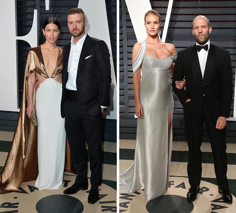 Oscars Special 2017: звезды навечеринке Vanity Fair Oscar Party. Джессика Бил и Джастин Тимберлейк.  Роузи Хантингтон-Уайтли и Джейсон Стейтем