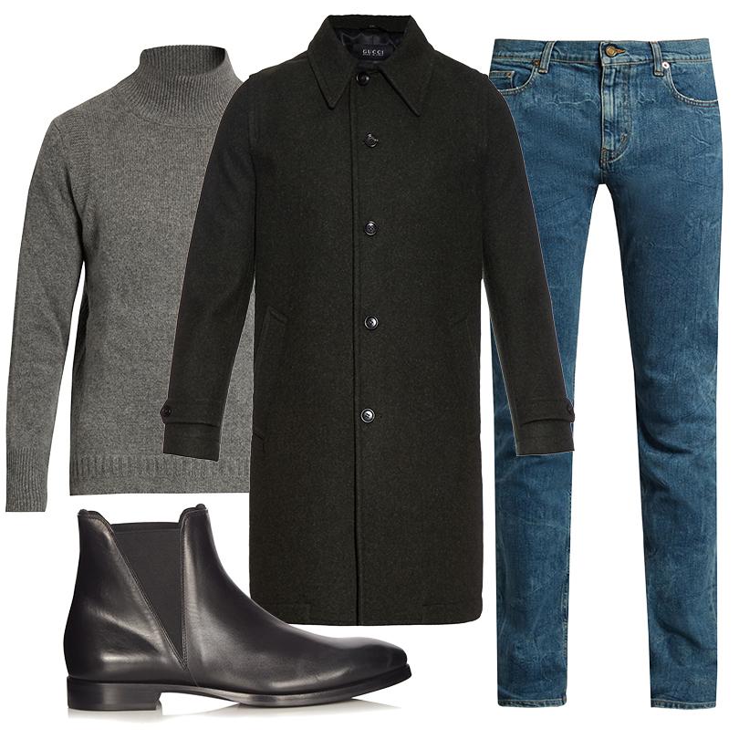 Men inStyle: утепляемся совкусом. Какую верхнюю одежду носить вноябре? Шерстяное пальто прямого кроя Gucci, водолазка Burberry, джинсы Saint Laurent, ботинки Acne Studios
