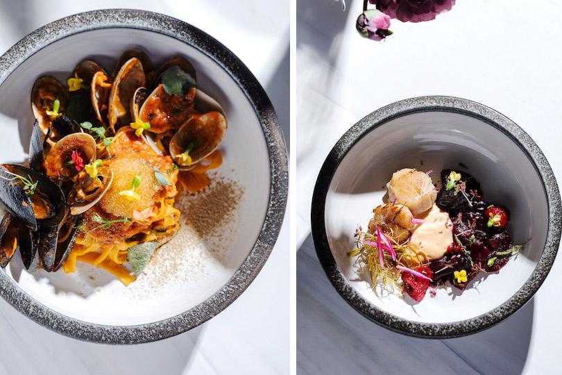 Меню недели: осенние блюда в ресторане Modus. Феттуччине смидиями, вонголе, икрой щуки имини шпинатом. Сахалинский гребешок смалиной имаринованной свеклой