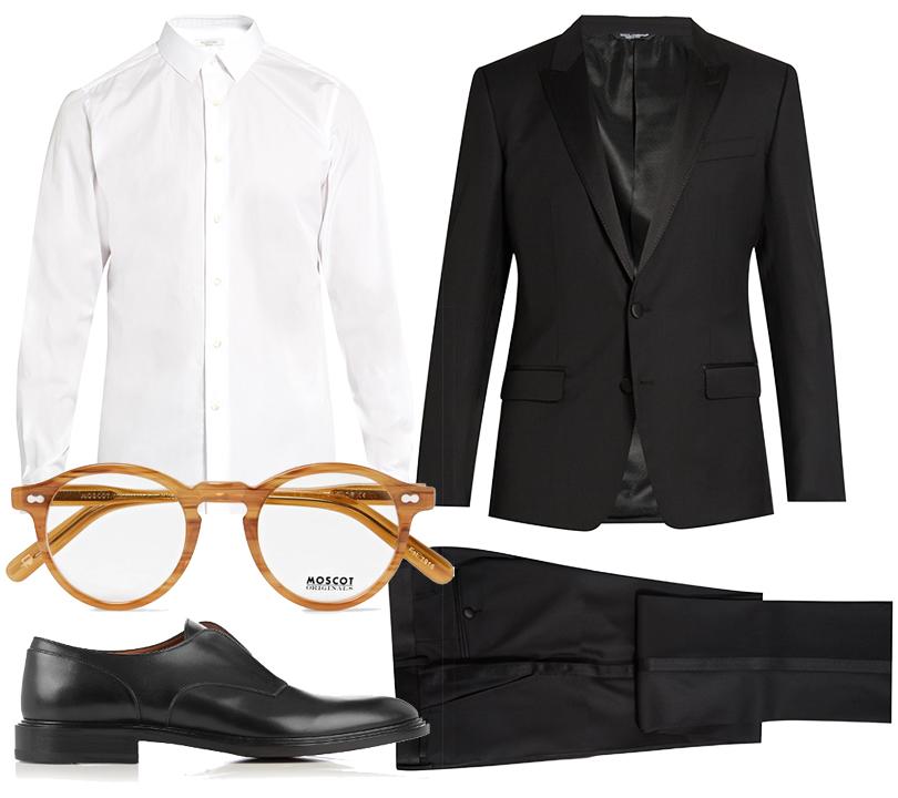 Men inStyle: 3образа встиле Джеймса Дина. Костюм Dolce &Gabbana, рубашка Valentino, ботинки Givenchy, очки Moscot