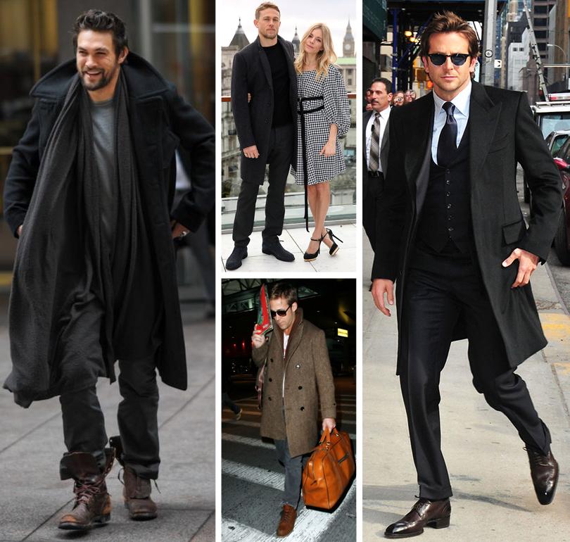 Men inStyle: как носить самые актуальные пальто весеннего сезона. Джейсон Момоа, Чарли Ханнэм, Райан Гослинг, Брэдли Купер