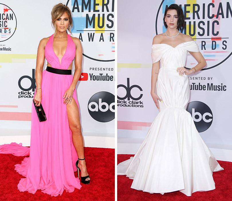 Самые яркие образы с ковровой дорожки American Music Awards. Дженнифер Лопес. Дуа Липа