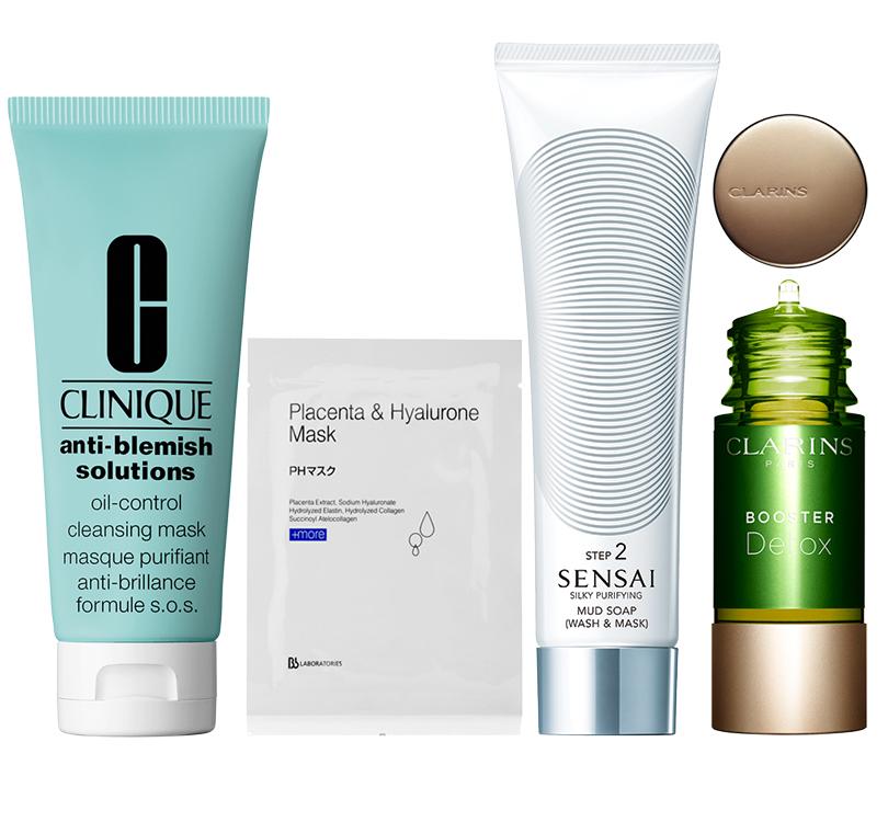 Anti-Blemish Solutions Oil-Control Cleansing Mask отClinique; плацентарно-гиалуроновая маска BbLaboratories; Cellular Performance отSensai; Booster Detox отClarins