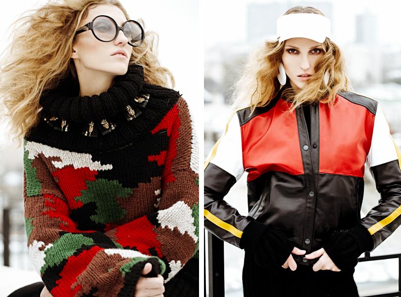 Style Notes: Урсула Ким в съемке для DressOne. Свитер иочки Alexander Arutyunov. Козырек икуртка, серьги Alexander Arutyunov