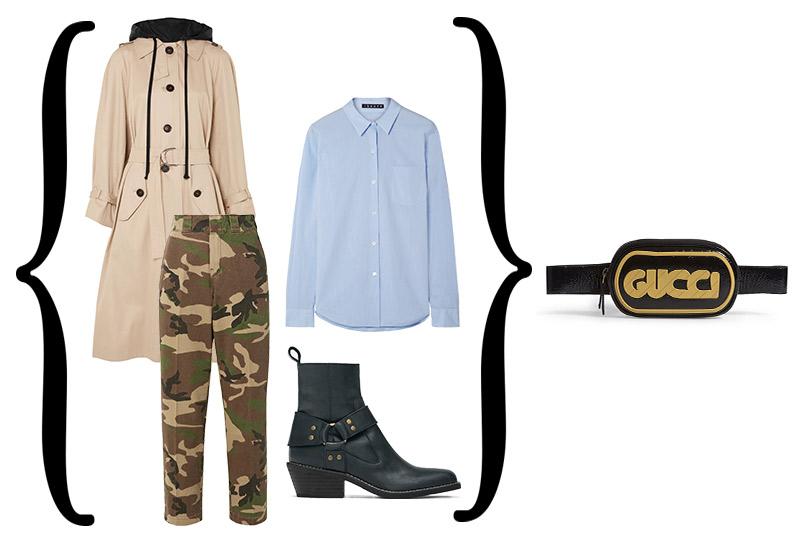 Брюки, R13; сорочка, Theory; тренч Miu Miu; казаки Zara