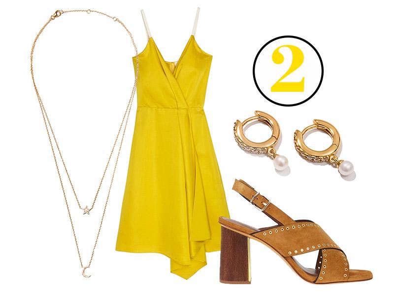 Платье, Victoria Beckham (Aizel.ru); босоножки, Lola Cruz; колье исерьги, все— Exclaim