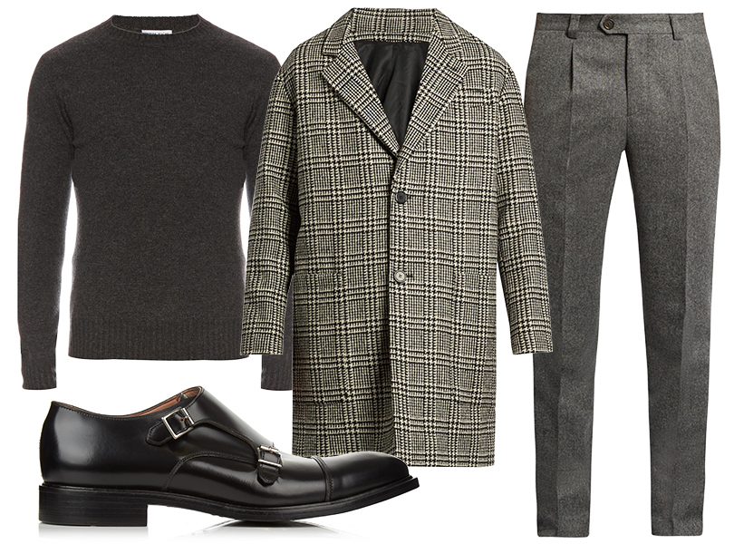 Men in Style: этой осенью делаем ставку на английский стиль. Тонкий кашемировый джемпер Tomas Maier, брюки Brunello Cucinelli, клетчатое пальто AMI, ботинки Paul Smith.