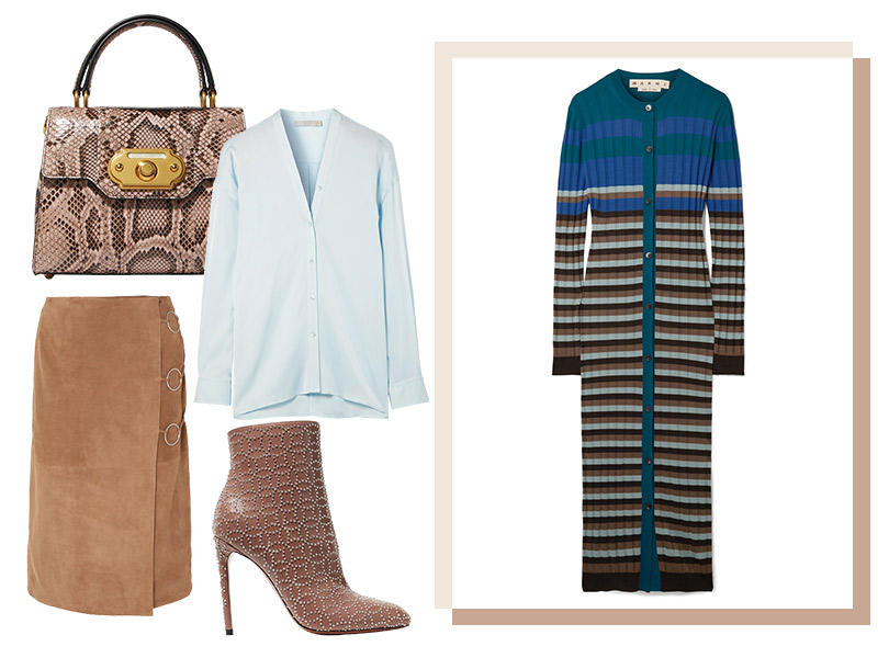 Юбка иззамши, Yves Salomon; блузка изшелка, Vince; кардиган, Marni; ботильоны, Alaïa; сумка, Dolce &Gabbana
