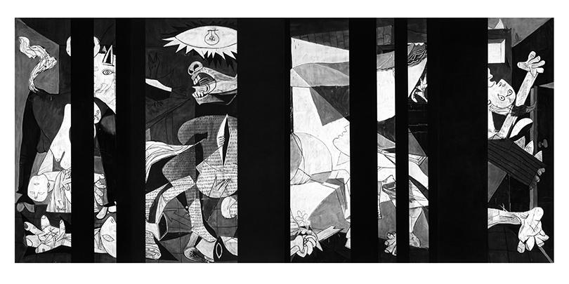 Роберт Лонго. Без названия (Цензурированная «Герника». Помотивам картины Пабло Пикассо «Герника», 1937г.), 2014г.