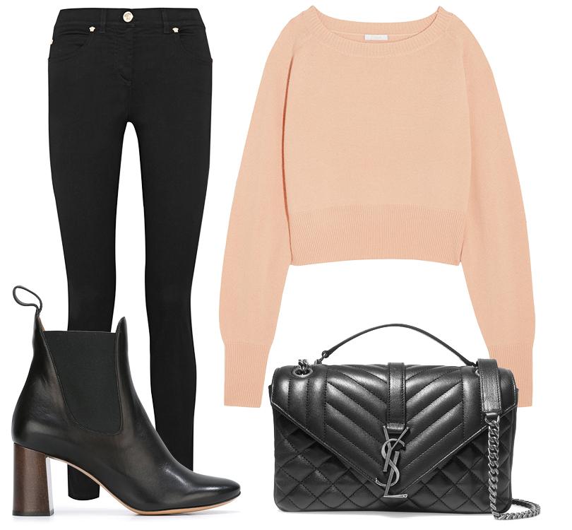 Ботильоны иукороченный кашемировый свитер Chloé, узкие джинсы cзавышенной талией Versace, сумка надлинной цепочке Saint Laurent
