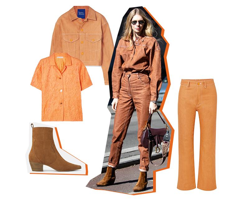 5 монохромных стритстайл-образов с Недели моды в Милане, которые вы будете носить уже этой весной. Костюм изденима, Simon Miller (Net-a-Porter); рубашка, Rejina Pyo; полусапоги, Zara
