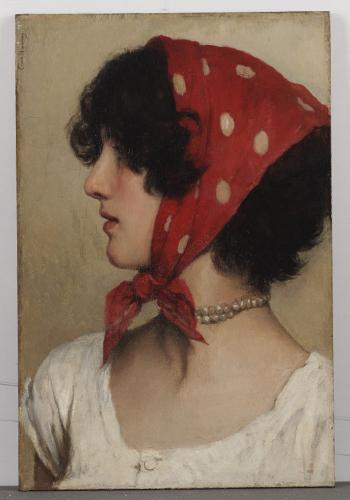 Сесиль ван Ханен. Девушка вкрасной косынке.1875